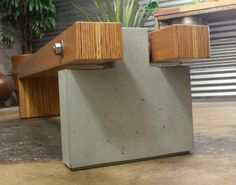 Customer Wood and Concrete Bench - made with CHENG Pro-Formula in Stone, by Cody Carpenter from Arizona