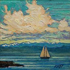 """Sunny Sail: 6x6 oil on panel"" - Original Fine Art for Sale - © Ken Faulks"
