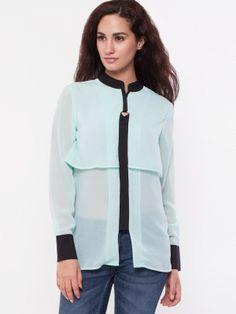 OLIV Semi Sheer Layered Shirt buy from koovs