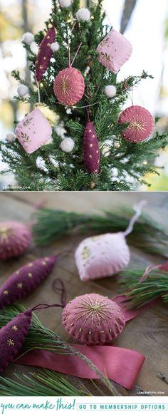Embroidered Felt Ornaments - Lia Griffith - www.liagriffith.com #diychristmas #diychristmasdecor #diyinspiration #diyholidays #diyornaments #felt #feltcraft #diychristmastree #embroidery #madewithlia