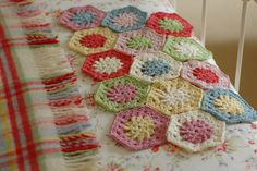 Beautiful hexagon crocheted afghan in progress by Serendipity Patch