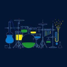 """Experimental Music"" tee by Glenn Jones, via Behance Chemistry Set, Organic Chemistry, Funny Chemistry, Tee Design, Graphic Design, Experimental Music, Drum Lessons, Guitar Lessons, Music App"