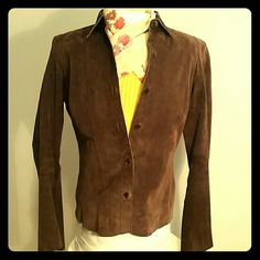 """Leather Suit Jacket Brown, suede, button up leather suit jacket is unlined and form fitting.  It has long arms and measure 25"""" down the back from collar to hem.  One can layer this over anything for day, night, or office.  Soft and freely movable, this item is like new from my smoke free home. Express Jackets & Coats Blazers"""