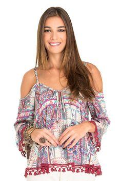 Blusa ombro vazado estampa happiness | Dress to