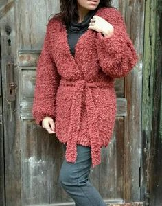 This chunky sweater coat, brick red jacket, mohair cardigan with knit belt 100% hand knitted with my hands. Very cozy and warm bulky knit jacket, cardigan long sleeve. Imagine yourself wearing this flufy jacket women on a chilly spring day, adding this lively white color to your