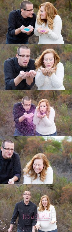 Adorable Gender Reveal Session! Such a cute idea! via Apple Rose Photography