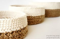 The long-awaited pattern has arrived! Get it hereor by clicking on any of the images below. UPDATE: A matching square version of these popular round jute and cotton baskets is now al…