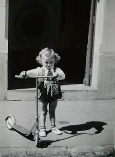 Vintage Photo  Little Girl with a Scooter by ChicEtChoc on Etsy, $3.75