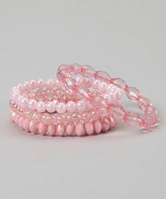 Look what I found on #zulily! Pink Stretch Bracelet Set #zulilyfinds
