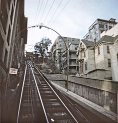 BH110 Angels Flight tracks, Bunker Hill, Los Angeles - Late 1950s.  This copyrighted photograph was taken by George Mann of the comedy dance team, Barto & Mann.jpg by richardschave, via Flickr