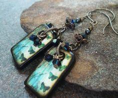 Handmade Earrings Lovely Blue Butterfly Flower Art by JensFancy, $42.00