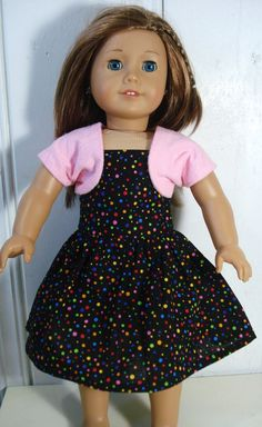 American Girl Dress with Shrug, Black Dress with Colorful Dots, with Pink Shrug. $15.00, via Etsy.  https://www.etsy.com/listing/118558924/american-girl-dress-shrug-black-dress