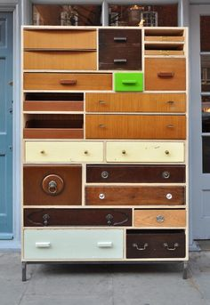 Upcycling furniture - discarded drawers by Rupert blanchard 4 - like this a lot, but wonder about how high you can make drawers without having to use a ladder to see what's in them.
