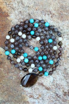 This combo tho ! • turquoise • fossil • smokey quartz • brown obsidian  #customdesign #mymalarae #malarae