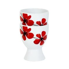 Dunelm Red Painted Poppy Collection Set of 2 Egg Cups Red