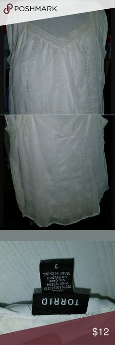 """Torrid? Plus Size 3? White lace and sheer? Torrid? Plus Size 3? White lace and sheer?  Pre owned, good condition?  My mannequin measurements:? Bust 44""""? Waist 52""""? Hips 50""""?  So you know what it looks like on and the fit on a chubby girl.? torrid Tops Tank Tops"""