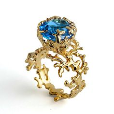 Unique Golden Coral Blue Topaz Engagement Ring,  London Handcrafted Sea Plant Aqua November Birthstone Jewelry
