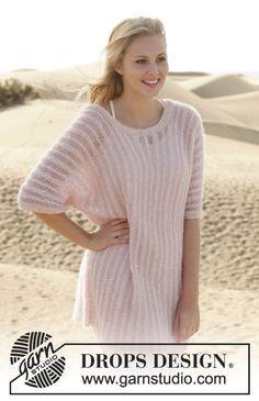 "Knitted DROPS jumper in garter st in ""Kid-Silk"" and ""BabyAlpaca Silk"". Size: S - XXXL. ~ DROPS Design"