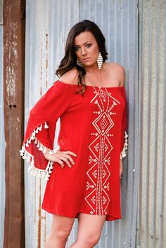 Gypsy beauty all the way! Tassel sleeves and embroidering! Off the shoulder rust color classic bohemian dream dress! 😍