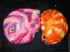 Кошка и Рыба - расписываем садовые камни - Ярмарка Мастеров - ручная работа, handmade