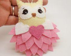 Felt Valentine Owl Ornament / Gift Tag / Note by TheDelightfulBee
