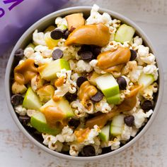 Peanut Caramel Apple Popcorn Snack Bowls