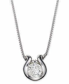 Sirena Diamond Necklace, 14k White Gold Bezel-Set Diamond Pendant (1/5 ct. t.w.)