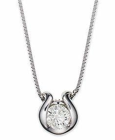 Sirena Diamond Necklace, 14k White Gold Bezel-Set Diamond Pendant (1/5 ct. t.w.)