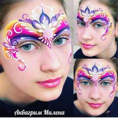 Princess Face Painting, Adult Face Painting, Mask Painting, Body Painting, Painting For Kids, Face Painting Flowers, Face Painting Designs, Dragon Birthday Parties, Face Paint Makeup