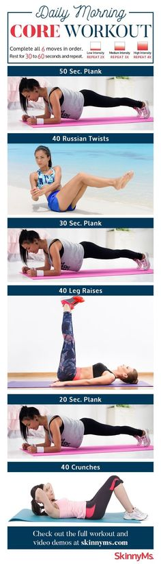 Daily Morning Core Workout Routine With Video Tutorials – Toned Chick – Genia S. Daily Morning Core Workout Routine With Video Tutorials – Toned Chick. Fitness Workouts, Yoga Fitness, Quotes Fitness, Fitness Motivation, Sport Fitness, Health Fitness, Fitness Plan, Fitness Shirts, Ab Workouts