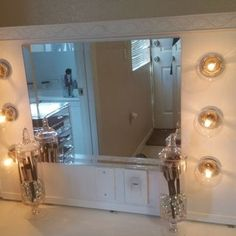 Vanity Mirror With Lights : 9 Steps - Instructables Bathroom Mirrors Diy, Lighted Vanity Mirror, Mirror With Lights, Mirror Vanity, Custom Mirrors, Adhesive Tiles, Wooden Slats, Glass, Learning