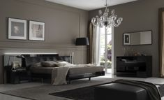Modern and Elegant Bedroom Decorating Ideas: Contemporary Bedroom Design with Luxury Chandelier – Home Design Ideas Grey Bedroom Design, Modern Master Bedroom, Modern Bedroom Decor, Gray Bedroom, Contemporary Bedroom, Bedroom Colors, Bedroom Furniture, Bedroom Ideas, Bedroom Designs