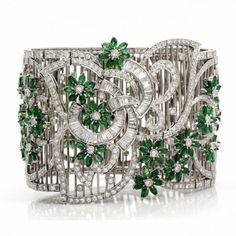 Dover Jewelry White Gold, Emerald and Diamond Bracelet   Supernatural Style