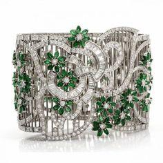 Dover Jewelry White Gold, Emerald and Diamond Bracelet