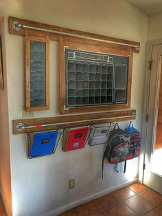 Idea:family command center using galvanized pipes from which to hang things by Ana White Command Center Kitchen, Family Command Center, Command Centers, Chalkboard Command Center, Hanging Chalkboard, Chalkboard Vinyl, Wand Organizer, Family Organizer, Hanging Organizer