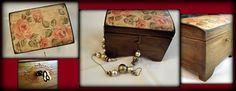 #wooden #box #flowers #vintage #deoupage #key #roses #DIY https://www.facebook.com/pages/Dimitras-Retro-Decoupage/532590893485180