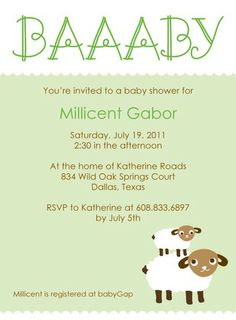 Sweet Sheep: Sage - Baby Shower Invitations in Sage | Night Owl Paper Goods