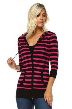 Marcelle Margaux 3/4 Sleeve Stripe Sweater - X-Large
