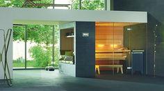 Sauny lze přizpůsobit individuálně podle prostorových možností. Prosklené průčelí je napojeno na již existující kamennou stěnu.