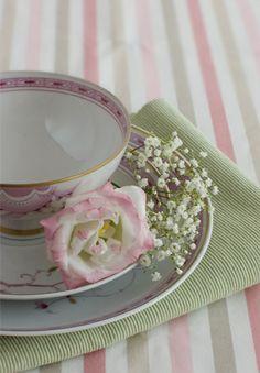 Tischdecke Streifen Rose Maiglöckchen