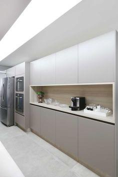 Cozinha moderna cinza cimento queimado | Projeto by Dani Momoi Arquiteta