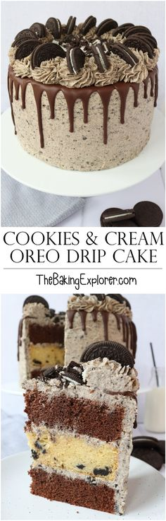 Recipe for a Cookies and Cream Oreo Drip Cake for the Oreo lover in your life! Features chocolate sponge, oreo sponge, oreo buttercream, chocolate drip and even more oreos on top! With easy to follow step by step photos.