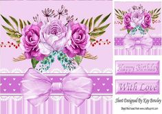 Pretty pink painted roses with organza bow in ornate frame 8x8 on Craftsuprint…