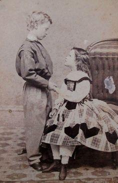 CDV PHOTO 2 BEAUTIFUL VICTORIAN CHILDREN GIRL GORGEOUS DRESS BOY CIVIL WAR ERA