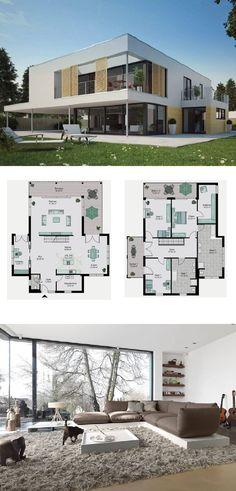 Bauhaus Stadtvilla Design modern mit Flachdach Architektur - Grundriss Architektenhaus Dessau Streif Haus Massivhaus Ideen - HausbauDirekt.de