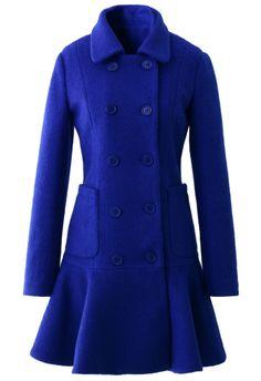 Blue Double Breast Coat with Frill Hem.
