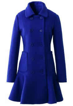Blue Double Breast Coat with Frill Hem