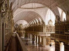 One of the most beautiful Libraries of the world. Mafra Library, Lisbon, Portugal