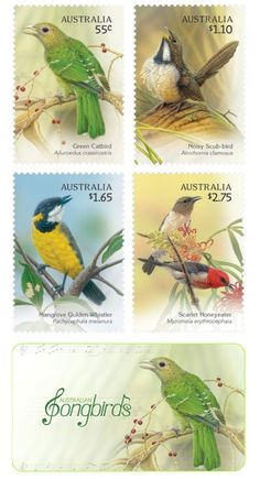 Australian Songbirds On Postage Stamps