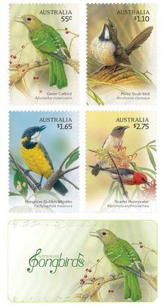 Australian Songbirds On Postage Stamps